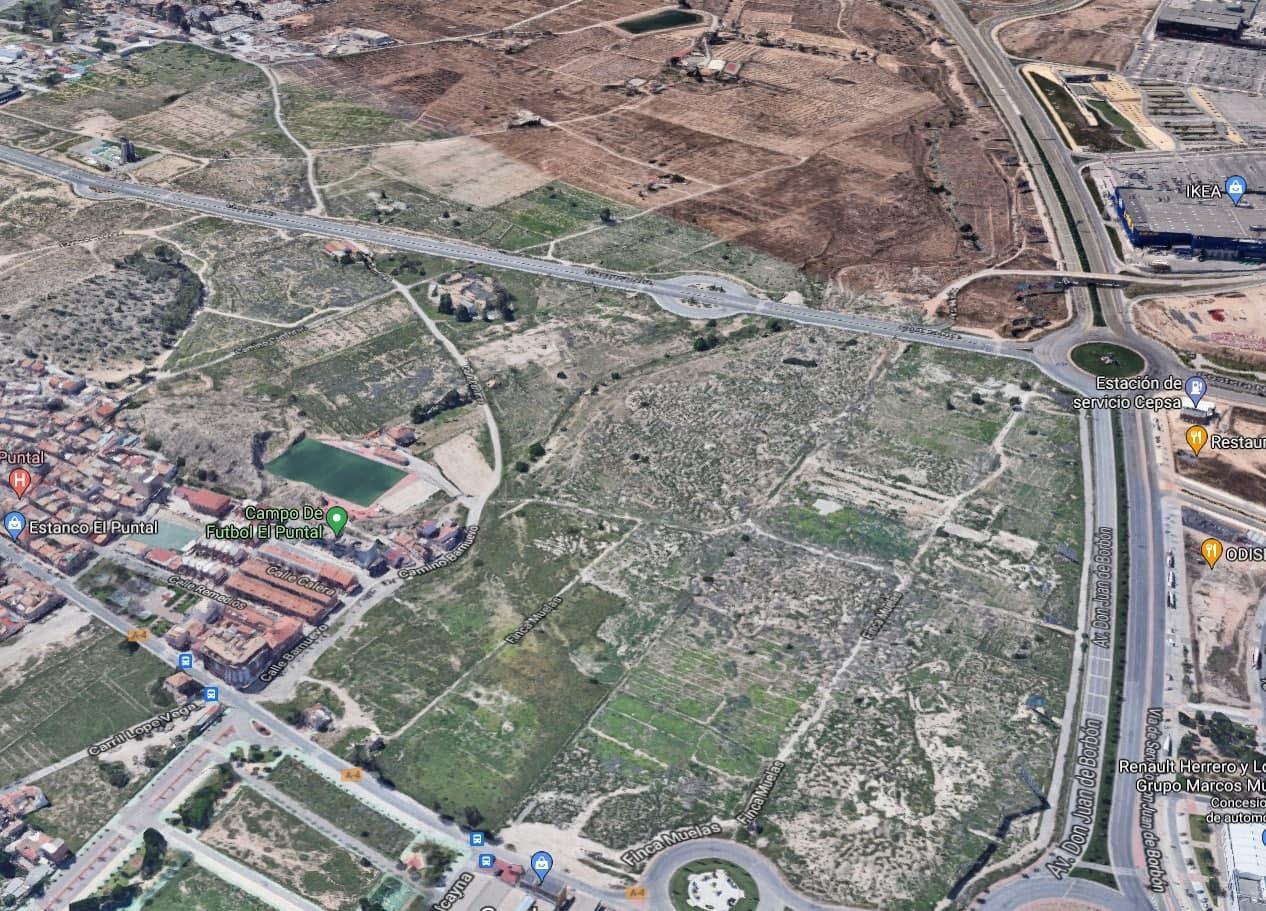 Vista aérea del sector impugnado en El Puntal de Murcia por Huermur. Imagen: Huermur