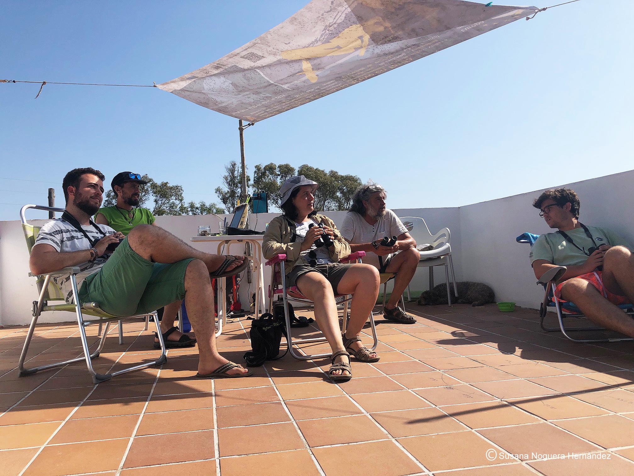 Los voluntarios, charlando y mirando el cielo. Imagen: Susana Noguera Hernández