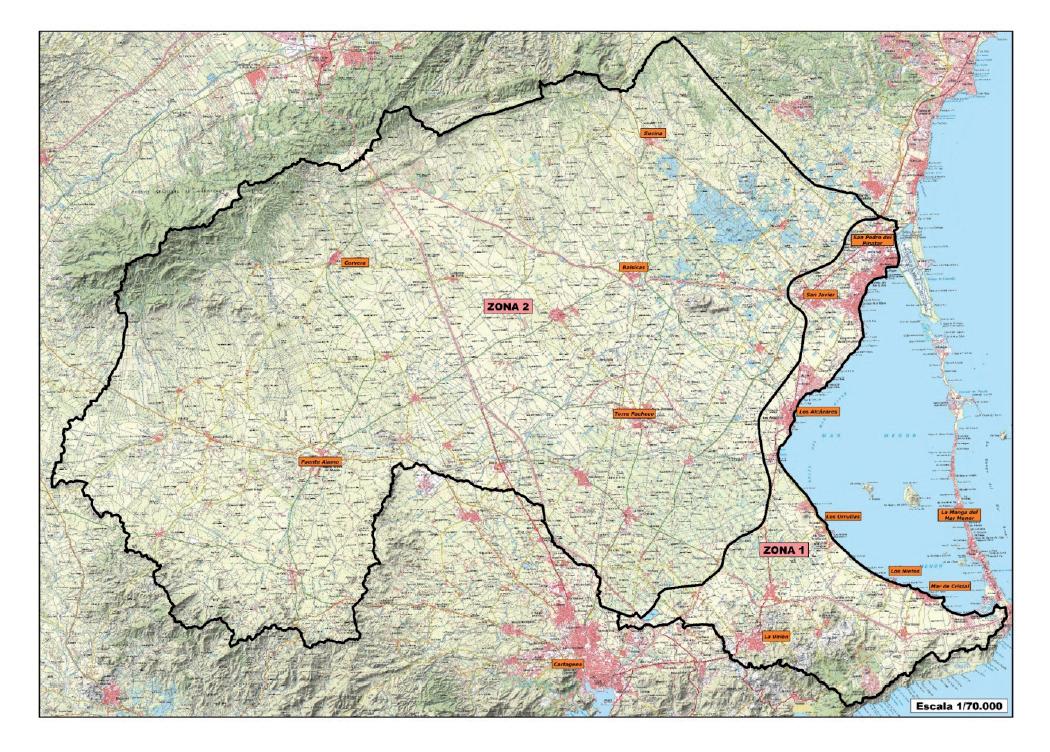 Límites de las Zonas 1 y 2 en el Real Decreto de Protección Integral del Mar Menor. Fuente: CARM